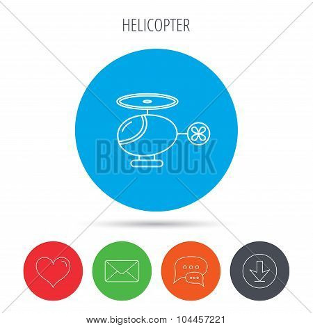 Helicopter icon. Urban air transport sign.