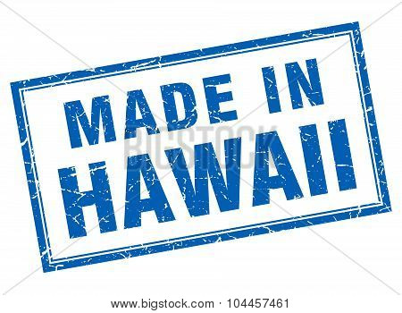 Hawaii Blue Square Grunge Made In Stamp