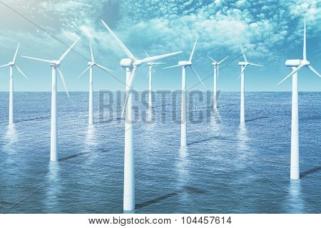 Wind Turbines Farm In The Ocean