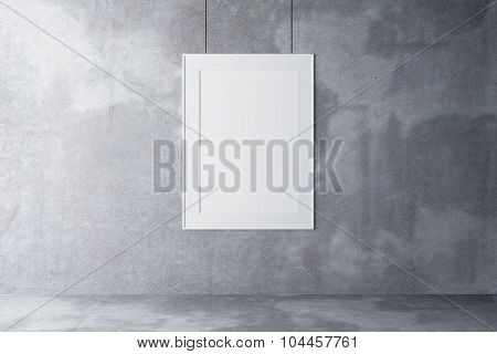 Blank Picture Frame On A Concrete Wall And Concrete Floor, Mock Up