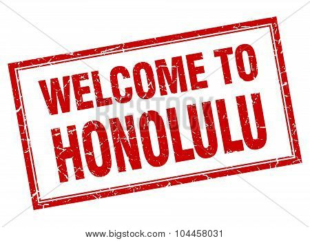 Honolulu Red Square Grunge Welcome Isolated Stamp