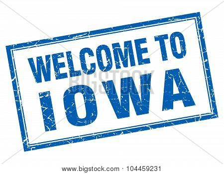 Iowa Blue Square Grunge Welcome Isolated Stamp