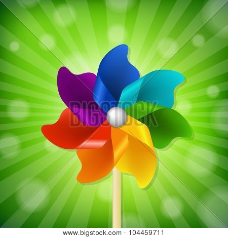 Green Sunburst With Colorful Pinwheel With Gradient Mesh, Vector Illustration
