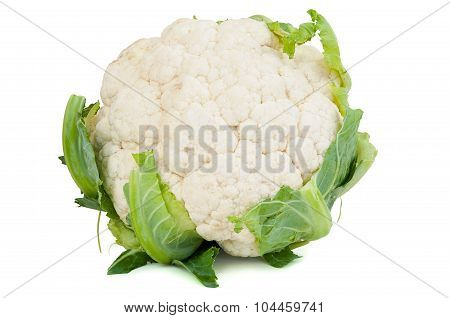 Cauliflower With Leaves On White Background