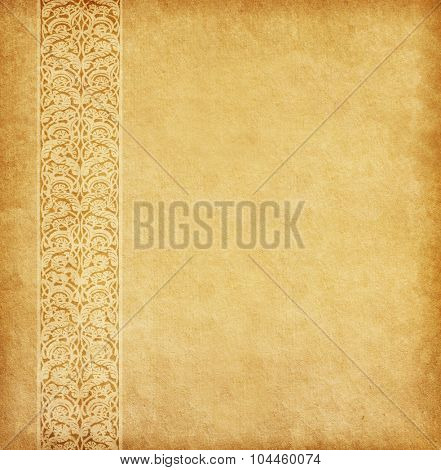 Beige background. Old paper with oriental ornament.