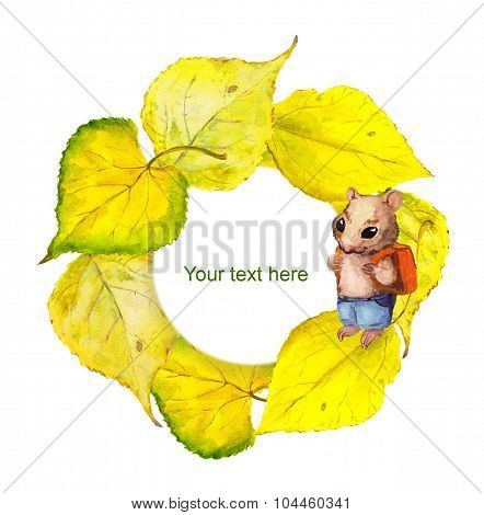 Autumn wreath frame with hamster and yellow autumn leaves