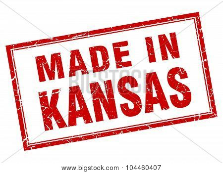 Kansas Red Square Grunge Made In Stamp