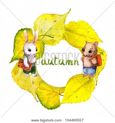 Autumn wreath frame with animals and yellow autumn leaves