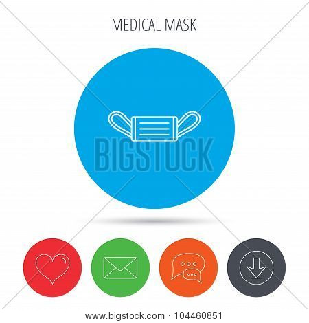 Medical mask icon. Epidemic sign.