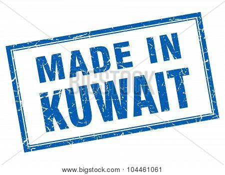 Kuwait Blue Square Grunge Made In Stamp