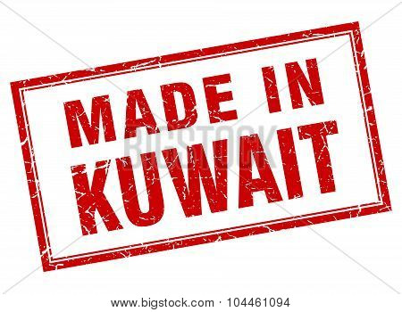Kuwait Red Square Grunge Made In Stamp