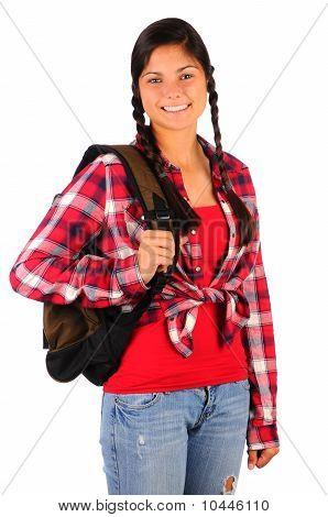 Smiling Teenage Girl With Plaid Shirt Bakcpack