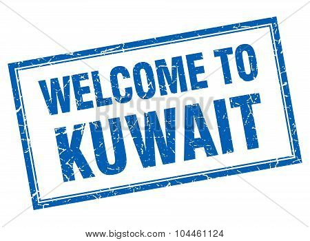 Kuwait Blue Square Grunge Welcome Isolated Stamp