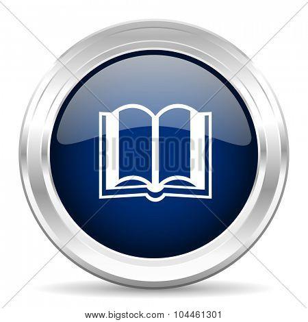 book cirle glossy dark blue web icon on white background