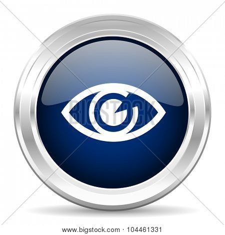 eye cirle glossy dark blue web icon on white background
