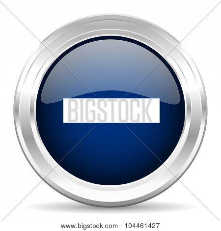 minus cirle glossy dark blue web icon on white background