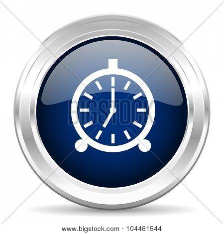 alarm cirle glossy dark blue web icon on white background