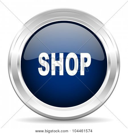 shop cirle glossy dark blue web icon on white background