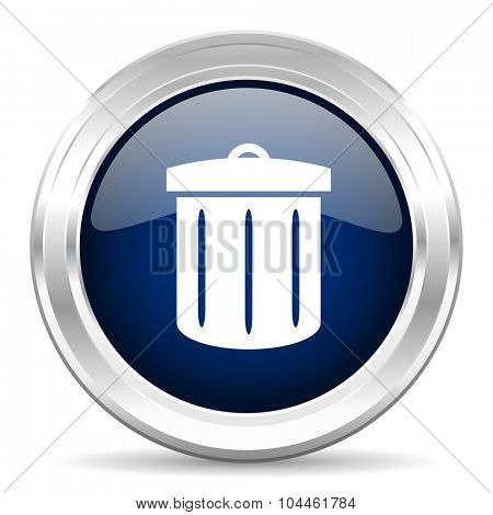 recycle cirle glossy dark blue web icon on white background