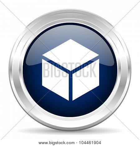 box cirle glossy dark blue web icon on white background