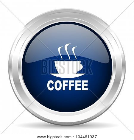 espresso cirle glossy dark blue web icon on white background