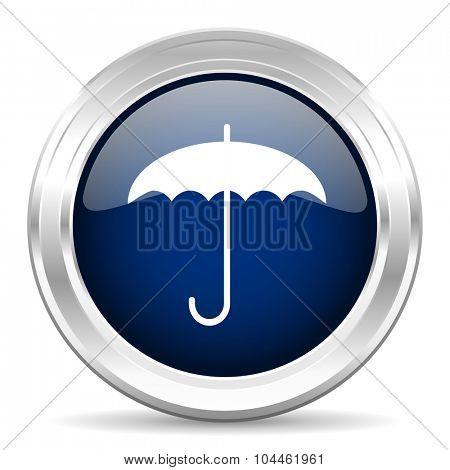umbrella cirle glossy dark blue web icon on white background