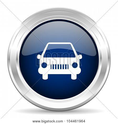 car cirle glossy dark blue web icon on white background