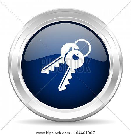keys cirle glossy dark blue web icon on white background