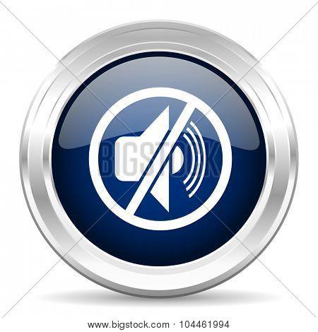mute cirle glossy dark blue web icon on white background
