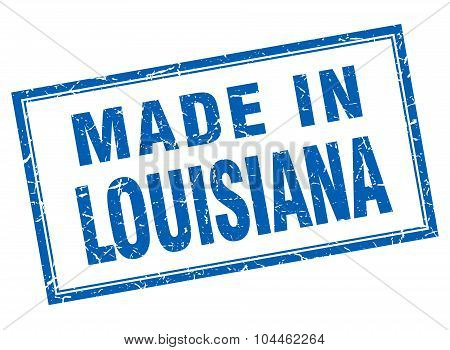 Louisiana Blue Square Grunge Made In Stamp