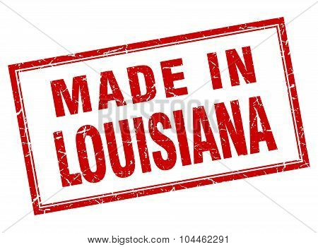 Louisiana Red Square Grunge Made In Stamp