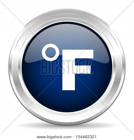 fahrenheit cirle glossy dark blue web icon on white background