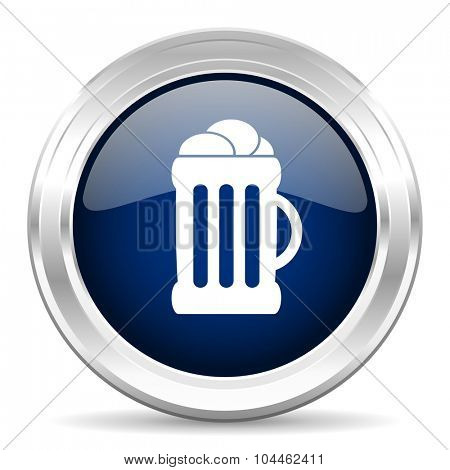 beer cirle glossy dark blue web icon on white background