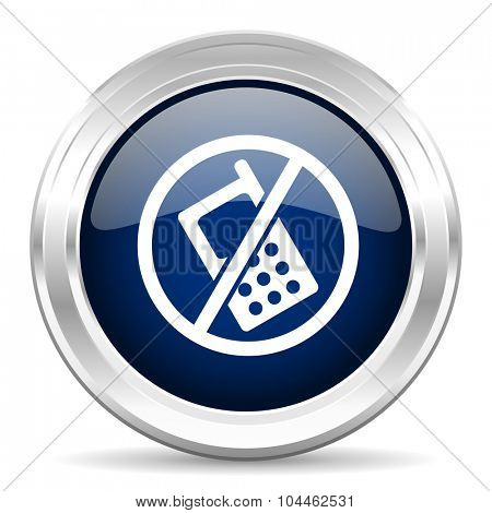no phone cirle glossy dark blue web icon on white background