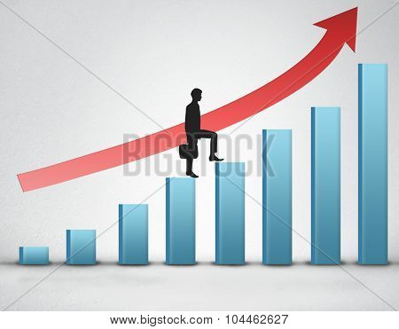Business man climb blue bar stairs