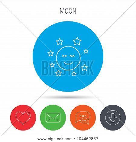 Moon and stars icon. Night or sleep sign.