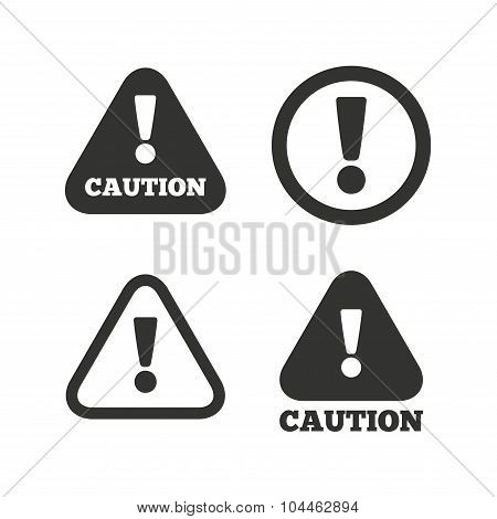 Attention caution signs. Hazard warning icons.