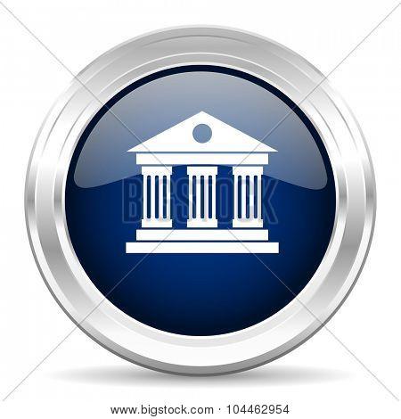 museum cirle glossy dark blue web icon on white background