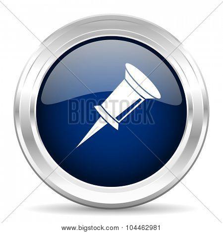 pin cirle glossy dark blue web icon on white background
