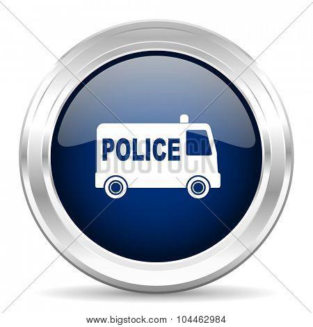 police cirle glossy dark blue web icon on white background