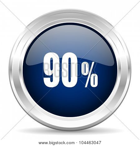 90 percent cirle glossy dark blue web icon on white background