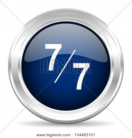 7 per 7 cirle glossy dark blue web icon on white background
