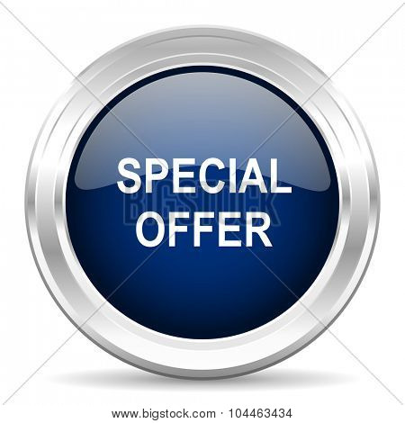 special offer cirle glossy dark blue web icon on white background