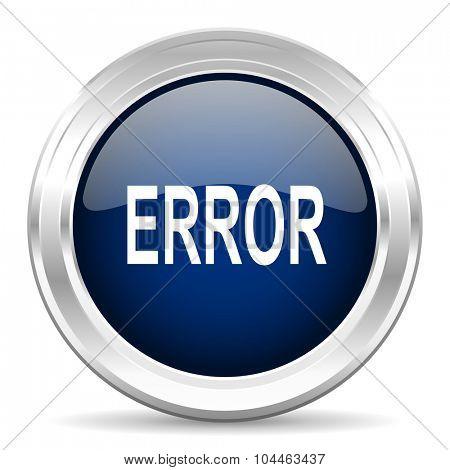 error cirle glossy dark blue web icon on white background