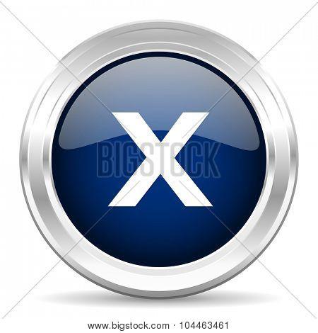 cancel cirle glossy dark blue web icon on white background