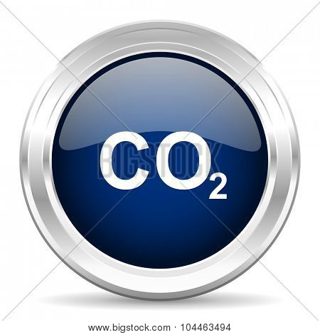 carbon dioxide cirle glossy dark blue web icon on white background