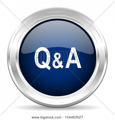 question answer cirle glossy dark blue web icon on white background