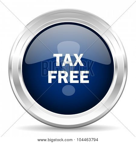 tax free cirle glossy dark blue web icon on white background