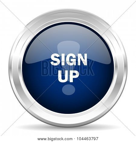 sign up cirle glossy dark blue web icon on white background