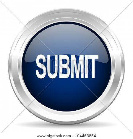 submit cirle glossy dark blue web icon on white background